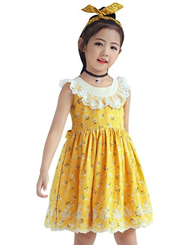 Sharequeen Flower Lace Rose Embroidery Cotton Girls Dress Ruffle Design Childrens Dresses With Lining Yellow Color 3-4 Old (Girls Dress Yellow)