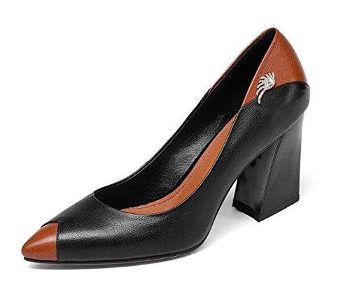 donna tacco nere GAOGENX da 38 in 35 Scarpe pompe EU38 vera casual grosso pelle vestito a taglia wcPBPEqY
