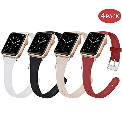 EXCHAR Slim Rubber Bands Compatible with Apple Watch Band 42mm 44mm Soft Silicone Replacement Band Women Unique Thin Wrist Strap for iWatch Series 4 3 2 1 M/L 4 Pack