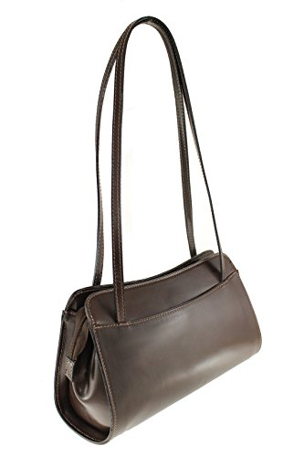 CTM Shoulder Bag Ladies Monedero de las señoras, 30x18x11cm, cuero genuino 100% Made in Italy Dark Brown