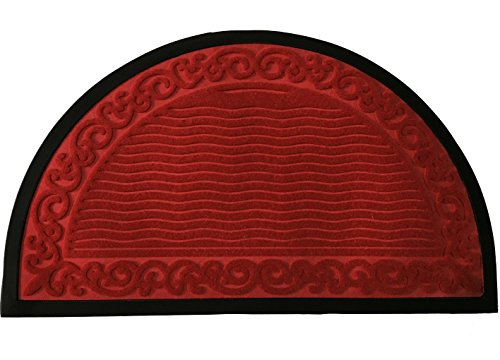 Half Round Door Mat Entrance Rug Floor Mats | Ripple Pattern Mat | Garage Entry Carpet Decor for House Patio Grass Water 18*30-inch | Semi-circle - Red (Round Door Half Mats)