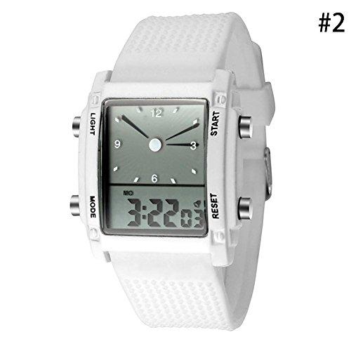Gracefulvara Digital Led Chronograph Quartz Sport Wrist Watch For Men Women (Chronograph White Charms)