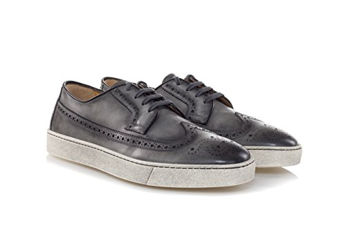 SANTONI Scarpe Washed Leather Derby Shoes-39 Uomo Grigio