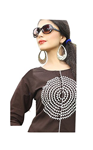 Jayayamala Femmes Brown coton col rond couleur blanche broderie tunique / Party Wear robe