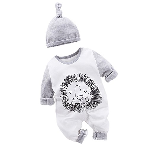 Fairy Baby Newborn Boys Girls Cotton Romper Outfit and Hat 2PCS Set