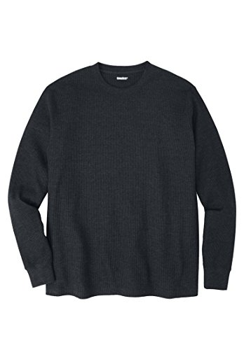 Kingsize Men's Big & Tall Heavyweight Waffle Knit Crewneck Tee, Heather Charcoal