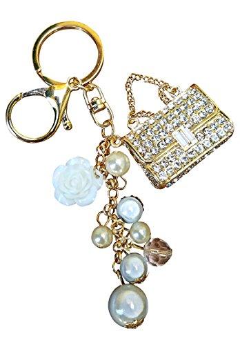 AM Landen Bling Gold Handbag White Rhinestone with Pearls Key Chain Key Rings Handbag Purse Charm Best Women's Keychain