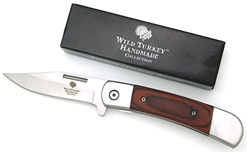 Wild Turkey Handmade Pearl Handle Action Assist Folding Pocket Knife Hunting Camping Fishing Outdoors (Brown)
