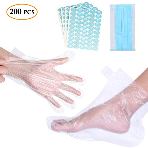 Paraffin Bath Liners 200pcs Disposable Plastic Gloves & Foot Cover Thermal Cozies Bags for Paraffin Wax Hand & Foot Care Accessories with 200pcs Stickers for Snug Closure