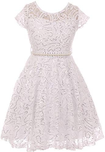 BNY Corner Big Girl Cap Sleeve Floral Lace Glitter Pearl Holiday Party Flower Girl Dress White 16 JKS 2102
