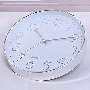 TOOGOO Reloj de pared moderno, 12 pulgadas Reloj de pared redondo de cuarzo interior silencioso