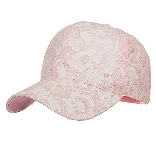 (Summer Fashion Snapback Cap lace Jacquard for Women Baseball Cap Pink)