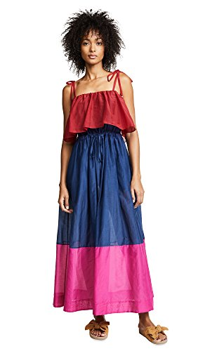 Diane von Furstenberg Women's Sleeveless Pleated Maxi Dress, Garnet/Light Navy/Hot Pink, Small