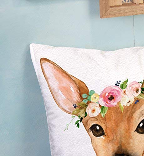 Shorping Zippered Pillow Covers Pillowcases 18X18 Inch boho woodland deer baby girl nursery floral pillow Decorative Throw Pillow Cover ,Pillow Cases Cushion Cover for Home Sofa Bedding