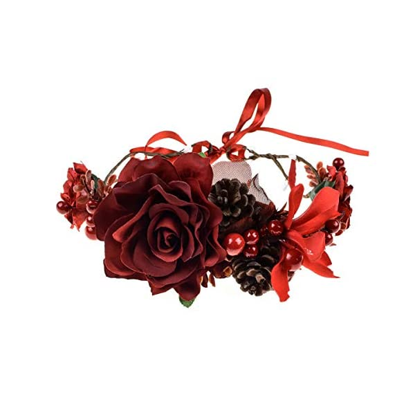 Floral Fall Burgundy Red Rose Winter Flower Crown Bridal Floral Crown Christmas Wreath Halo HC-35 (Burgundy Rose)