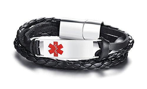 PJ Jewelry Free Engraving Stainless Steel Black Braided Genuine Leather Triple Wrap Medical Alert Bracelet for Men by PJ Jewelry