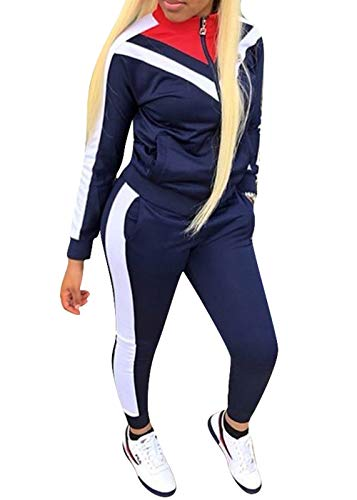 Womens Color Block Tracksuit 2 Piece Outfits, Casual Long Sleeve Full Zip Jacket and Pants Sport Set Sweatsuits (Navy, M)