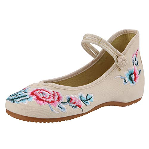 CINAK Floral Embroidered Shoes for Women- Comfortable Loafer Black Casual Round Toe Ballet Flats Shoes(6 B(M) US/UK4/EU36/CN37/23.5CM,Beige)