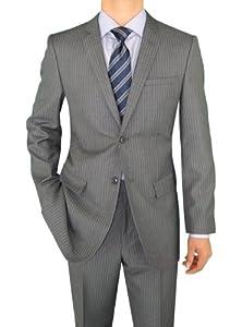 B00FPAH37I Marzzotti Gianni Modern Fit Business Men's Suit 2 Button 44L Gray Stripe