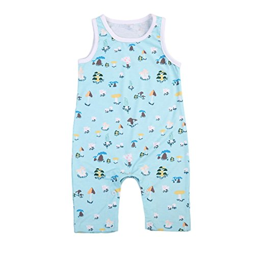 Baby Boy Girl Romper Jumpsuit Cute Pattern Print Sleeveless Sky Blue One-Piece Jumpsuit Outfit Clothes (90(12-18 months), Blue Shorter)