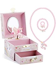 Kids Musical Jewelry Box for Girls with Drawer and Jewelry Set with Cute Princess Theme