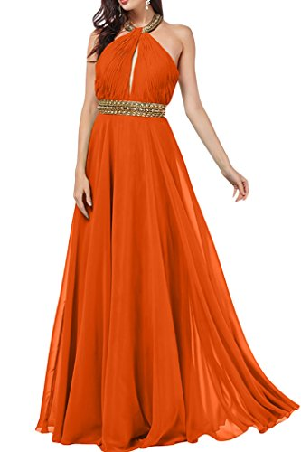 Steine Partykleid Abendkleid Orange Ivydressing mit Damen A Linie Neckholder Promkleid Chiffon vqr0zXqx
