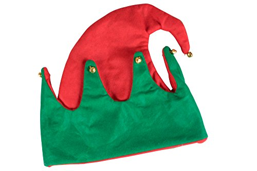 Novelty 2 Sided Red and Green Elf Hat with Jingle Bells by Clever Creations | One Size Fits Most Christmas Hat For Both Kids and Adults (The Most Clever Halloween Costumes Ever)