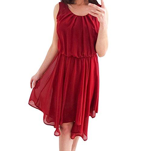 Damen Elegant Kleider T-Shirt Kleid Ärmelloskleid Hülsen Strandkleid Lose Einfache Einfarbig Maxi Kleidet beiläufige Lange Farbe Chiffon Poncho Frauen Freizeit Slim Prinzessin Kleid Rot