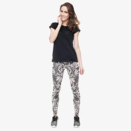 Gris Clásico Fit Lga31764 Mujeres Pantalones Leggings Cintura Legging Alta Impresión Yoga Fitness Tee De Legins Silm wURq1Y