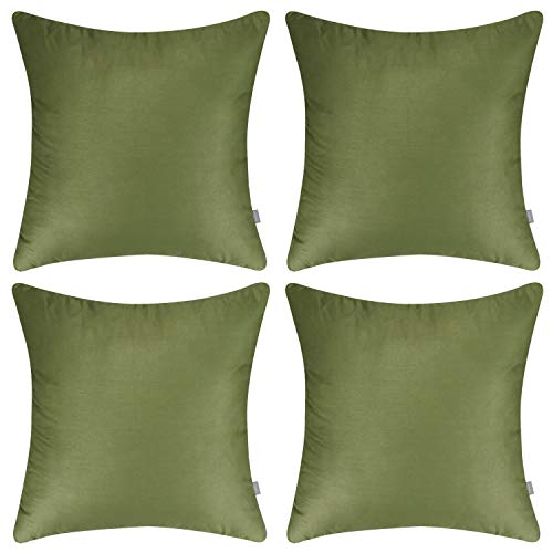 4-Pack 100% Cotton Comfortable Solid Decorative Throw Pillow Case Square Cushion Cover Pillowcase(Cover Only,No Insert)(18x18 inch/ 45x45cm,Olive Green) ()