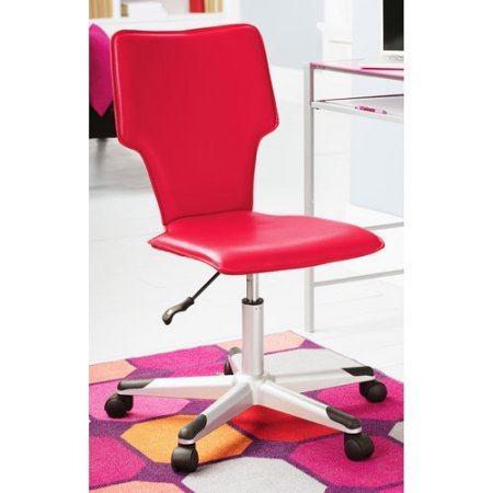 Mainstays Vinyl Student Indoor Home Office Ergonomic Chair Pneumatic height adjustment with gas lift , Multiple Colors - Red