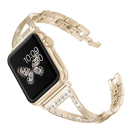 Wearlizer Bling Compatible Apple Watch Band 42mm 44mm Womens iWatch Straps Beauty Jewelry Rhinestone Wristband Stainless Steel Luxury Dress Bangle Replacement Metal Bracelet 4 3 2 1-Champagne Gold