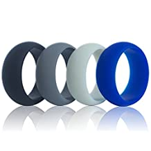Men silicone wedding ring, DoerDo Rubber sport band, Designed for Souvenir and Wearing comfortably to Taking exercise - 4 Rings Pack(Black, Grey, Light grey, Blue)