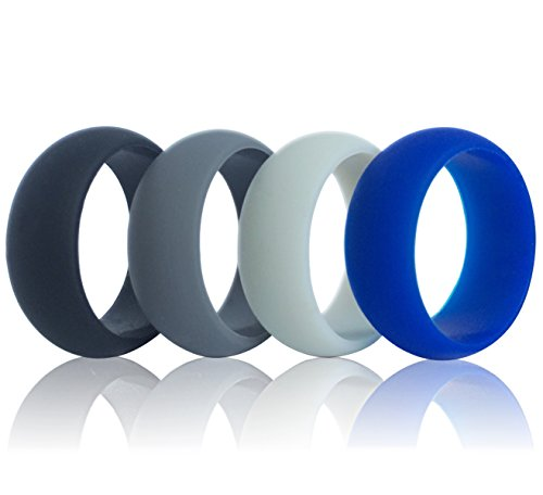Men silicone wedding ring, DoerDo Rubber sport band, Designed for Souvenir and Wearing comfortably to Taking exercise - 4 Rings Pack(Black, Grey,Light grey, Blue) -SIZE 9