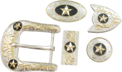 (Springfield Leather Company's 11pc Buckle Set, Stars, Silver/Gold)