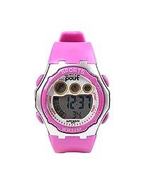 POLIT Kids Multifunction LED Wrist Wrist Watch Gift Digital Sport Waterproof Watch - Rose Red