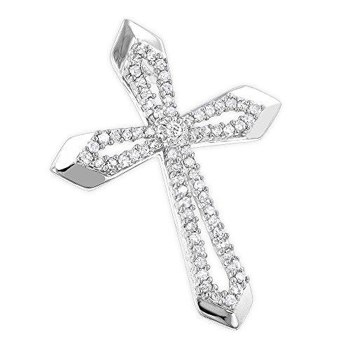 Unisex Designer 10K Natural 0.25 Ctw Diamond Cross Pendant (White Gold)