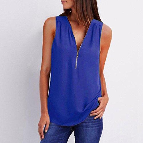 t Fonc pour Haut Dcontracte Chemise Shirt Femme en Glissire V Femme col Top Chemise Sexy Blouse Manches Vetement Beikoard en Vrac T sans Bleu Utqgw