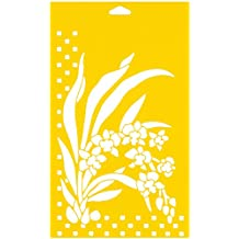 """12"""" x 7"""" (30cm x 17.5cm) Reusable Flexible Plastic Stencil for Cake Design Decorating Wall Home Furniture Fabric Canvas Decorations Airbrush Drawing Drafting Template - Bunch of Wild Orchids Flowers Leaves"""