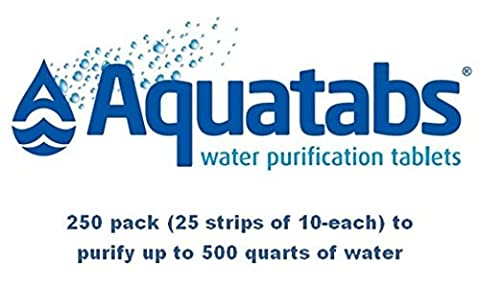 Aquatabs Water Purification Tablets Deluxe 250-Count (Military Water Purification)