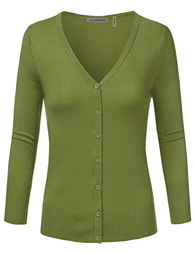 JJ Perfection Women's 3/4 Sleeve V-Neck Button Down Knit Cardigan Sweater SAGE XL