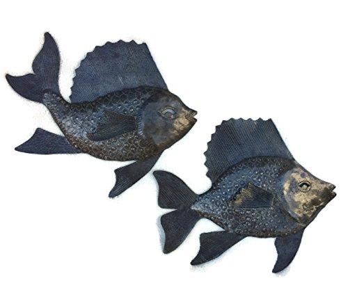 Cheap Nautical Fish, Set of 2, Wall Hanging Haitian Metal Decor 9.5″ x 10.5″