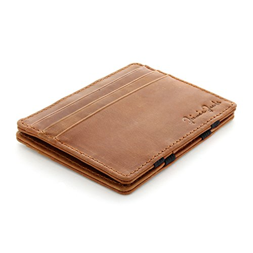 Jaimie Jacobs Magic Wallet Flap Boy Slim for Men Genuine Leather (Vegetable Tanned – Vintage Cognac)
