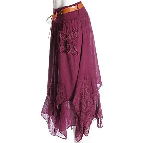 Wine Candy Lace Clothing Asimmetrico Detail Gonna Donna ZwwSqx8R