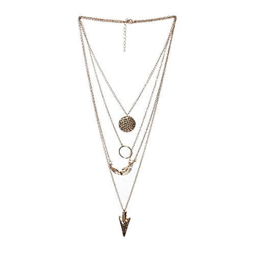 Botrong® Necklaces for Women, Women Multilayer Irregular Crystal Gold Pendant Chain Statement Necklace ()