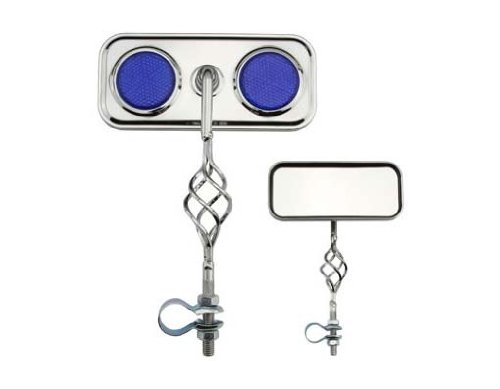 Cage Rectangle Mirror Blue Reflectors. Bike mirror, bicycle mirror for lowrider , beach cruiser, chopper, limo, stretch bike, bmx, track, fixie, mountain bikes ()