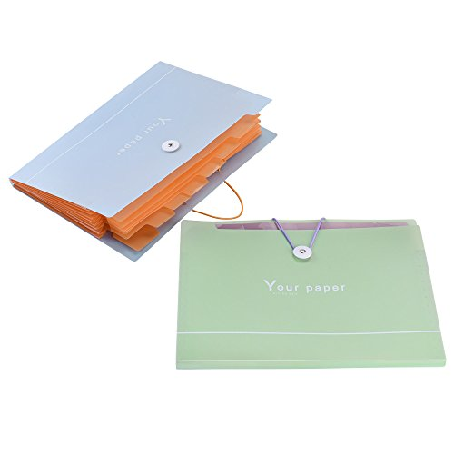Cosmos 2 PCS Expanding File Folders A4 Letter Size Document Paper Expandable File Folder with 8 (Ext Pocket)