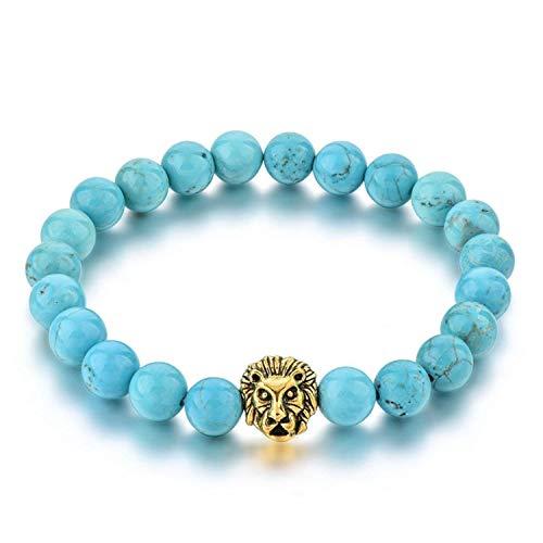 fun-ttore Natural Stone Gold Color Lion Strand Men Bracelet Femme Handmade Beads Bracelets Ethnic Men Jewelry Gifts,lightblue