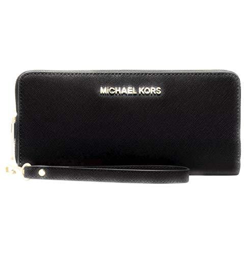 Michael Kors ZA Travel Continental Jet Set Clutch Wallet Wristlet (Signature MK Mirror Metallic Nickel)