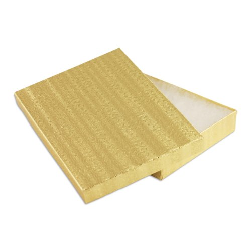 100 pcs Gold Cotton Filled Jewelry Gift Boxes 7x5 by Select Jewelry Displays